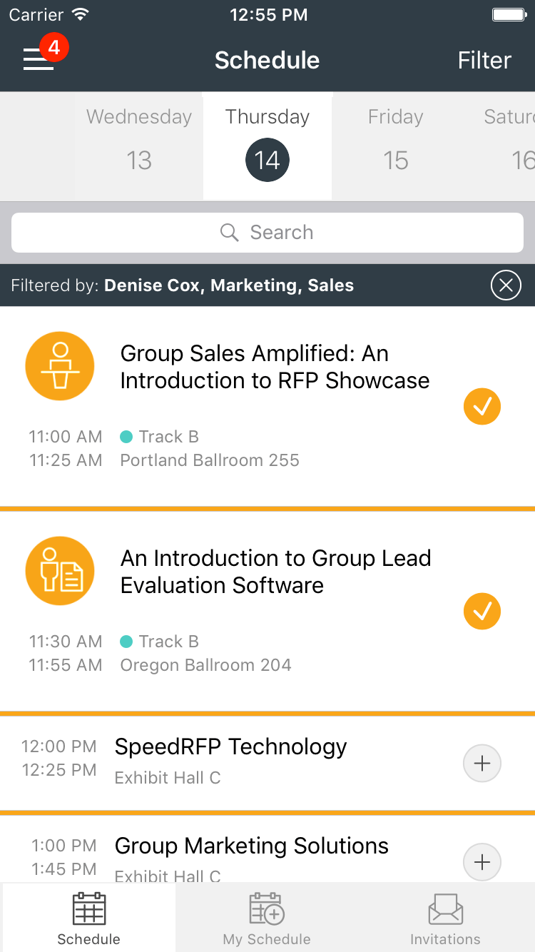 Filter event app schedules