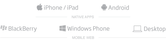 iPhone/iPad, Android, HTML5, Blackberry, Windows Mobile